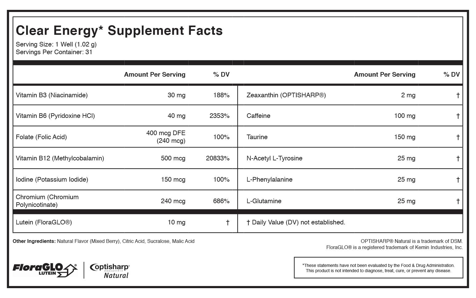 multivitamin's nutrition label