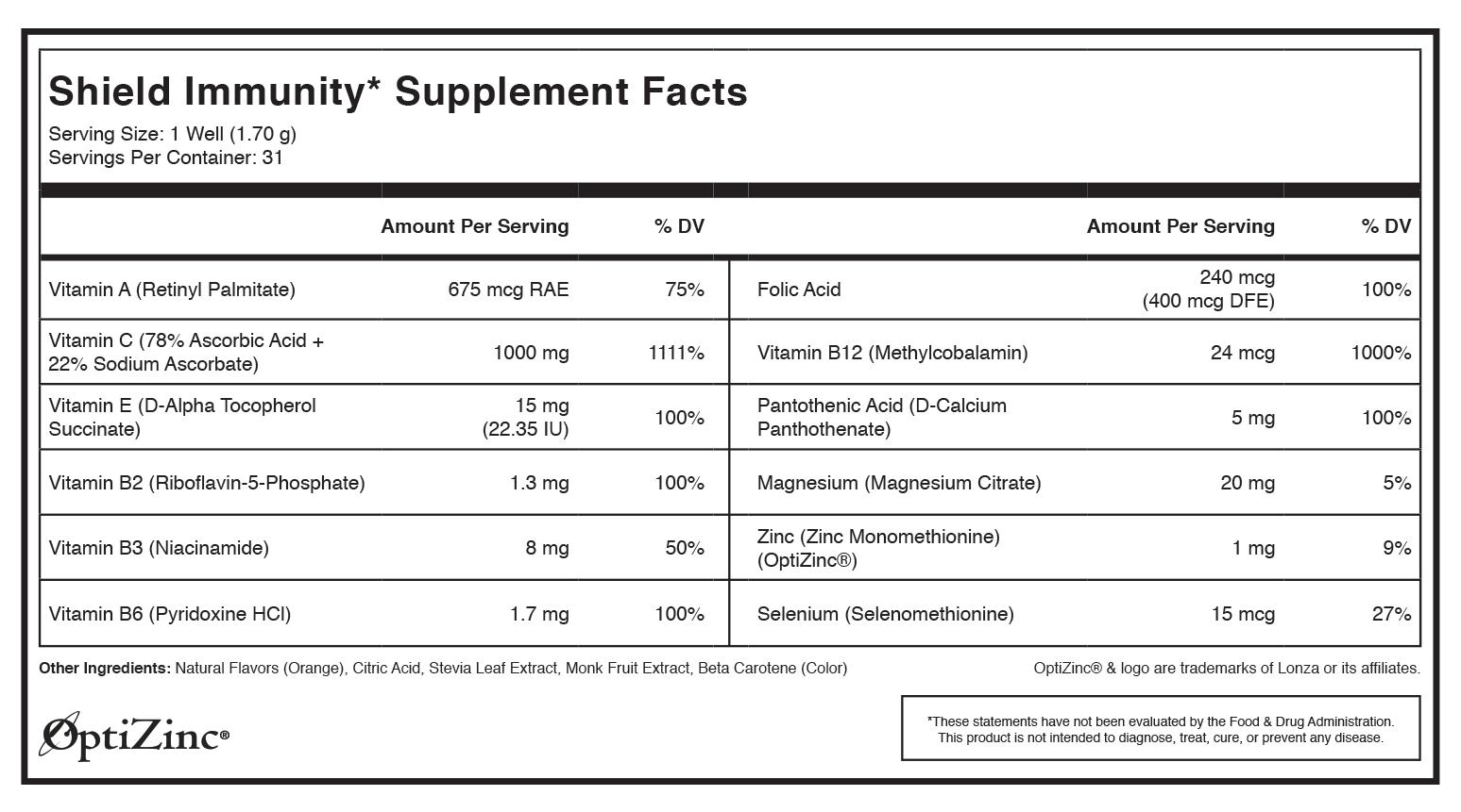 Tespo® Shield Immunity* nutrition label